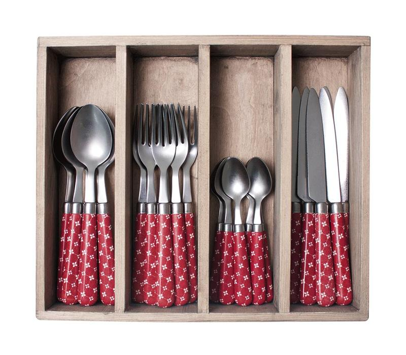 "Campagne 24-piece Dinner Cutlery Set ""Country Chic"" in Cutlery Tray, Red"