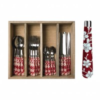 """Campagne 24-piece Dinner Cutlery Set """"Flower"""" in Cutlery Tray, Red"""