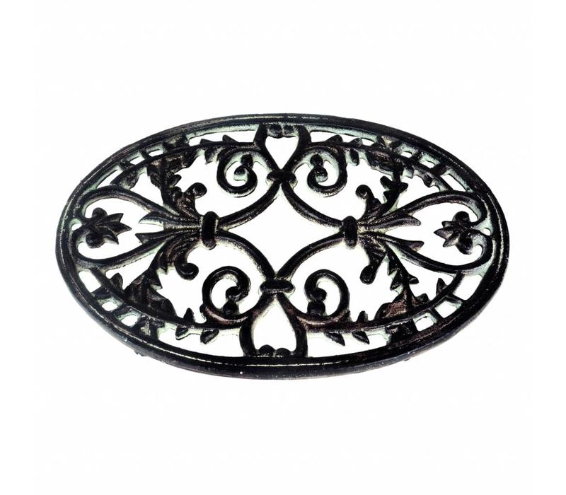 French Kitchen Collection Large Oval Trivet 32x20 cm Cast Iron, Antic Finish