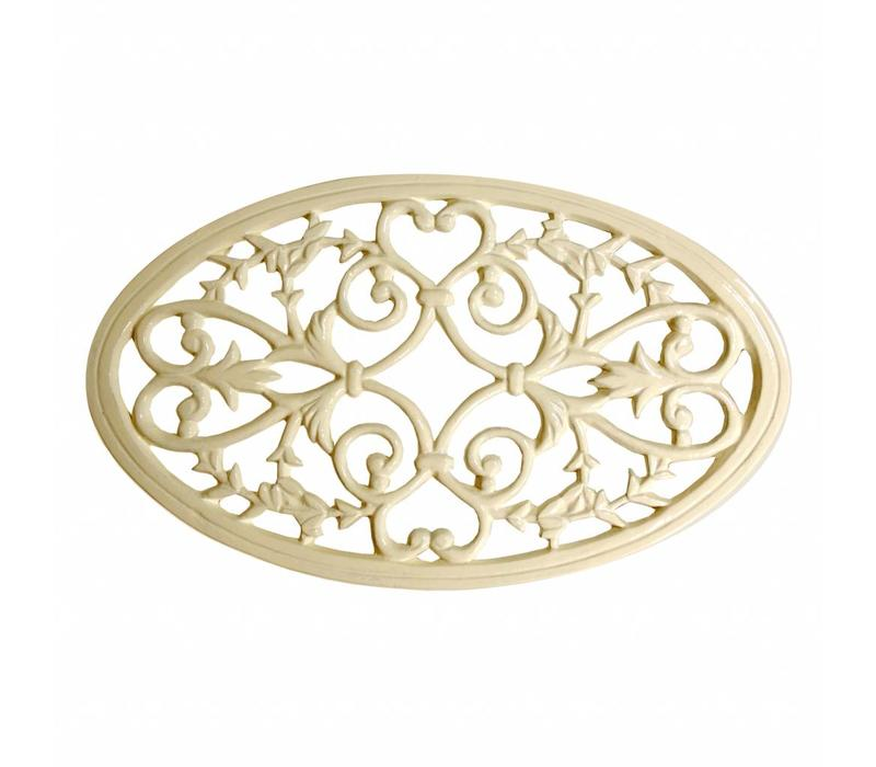 French Kitchen Collection Oval Trivet Large Iron, Cream