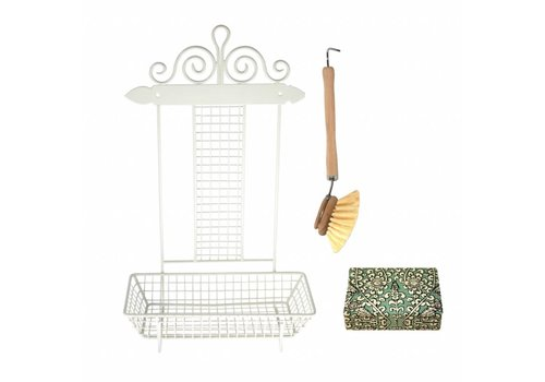French Kitchen Collection French Kitchen Collection Rack Dish-washing with Brush & Soap Iron, Cream