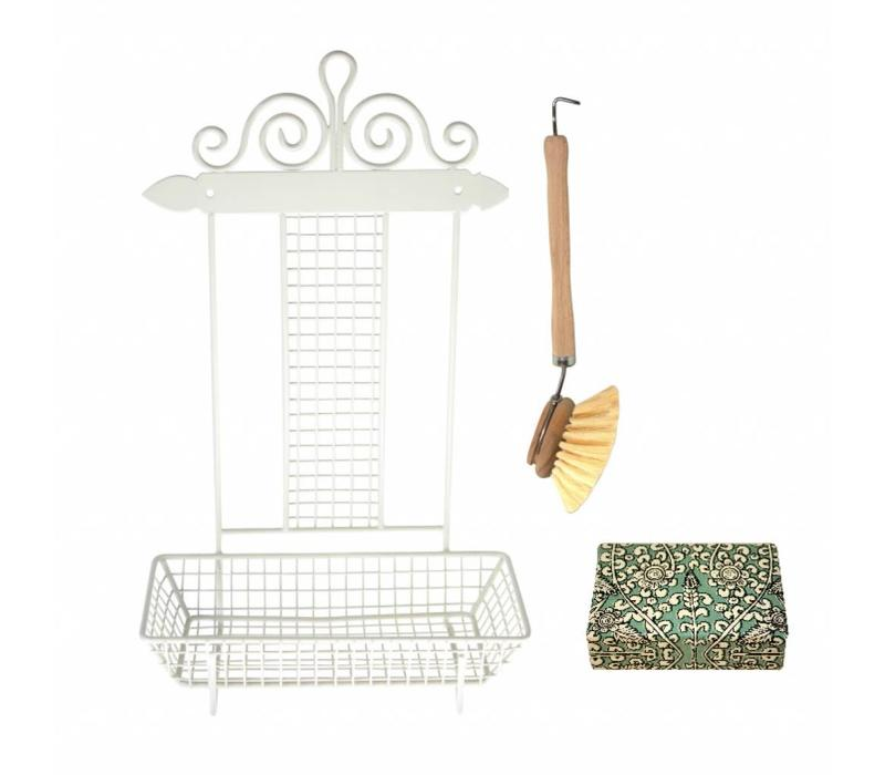 French Kitchen Collection Rack Dish-washing with Brush & Soap Iron, Cream
