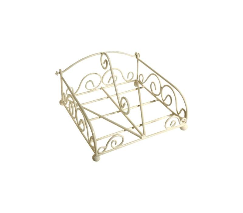 French Kitchen Collection Napkin Holder Cocktail Iron, Cream