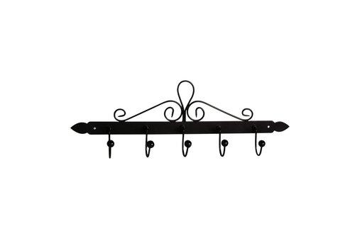 Kom Amsterdam French Kitchen Collection Dishcloth Rack with 5 Hooks 44x5xH14 cm Black