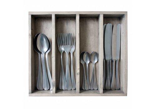 Kom Amsterdam Brocante 24-piece Diner Cutlery Set in Cutlery Tray 'Decor no.8' Weathered Steel