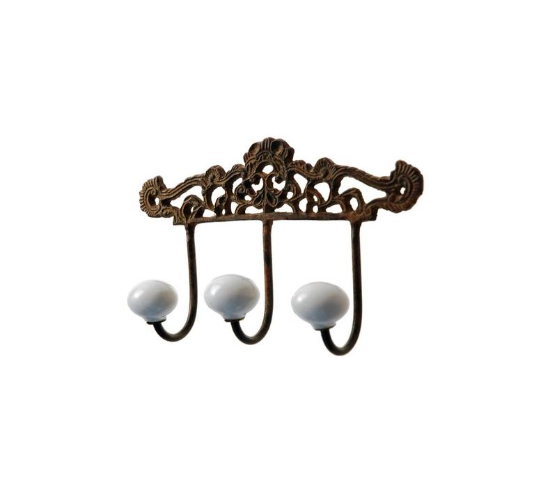 French Kitchen Collection Rack Antic with 3 Porcelain Knobs