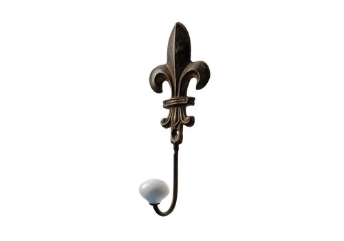 French Kitchen Collection French Kitchen Collection Large Hook Porcelain Knob Iron Antic Finish