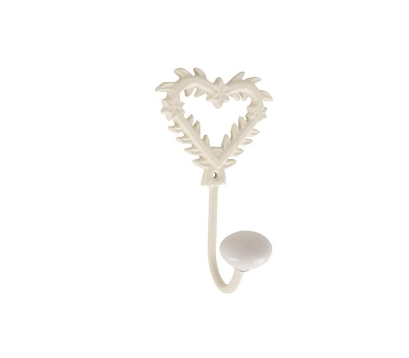 Hook with Porcelain Knob H14 cm Iron, Cream