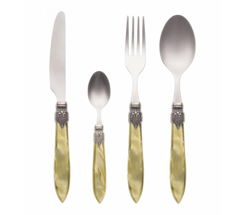 Murano 24 Piece Cutlery Set Olive Green