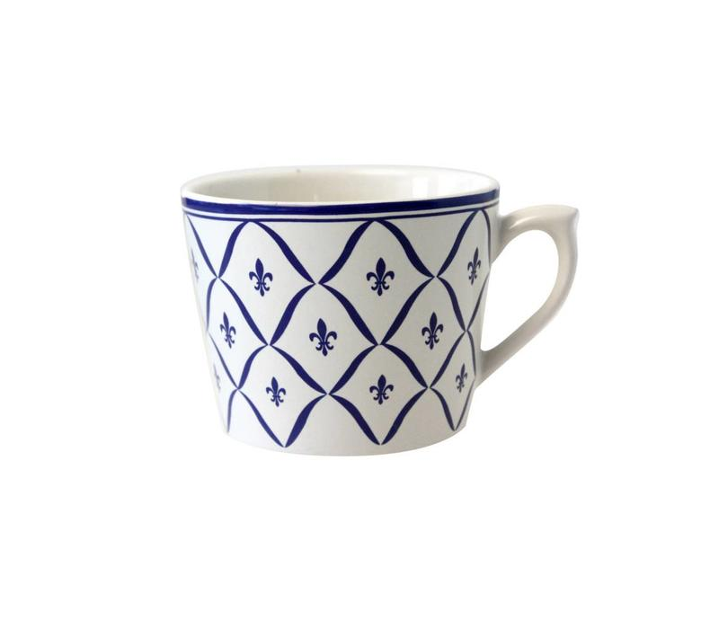 Dépôt d'Argonne Cappuccino Cup Fleur de Lys, Blue