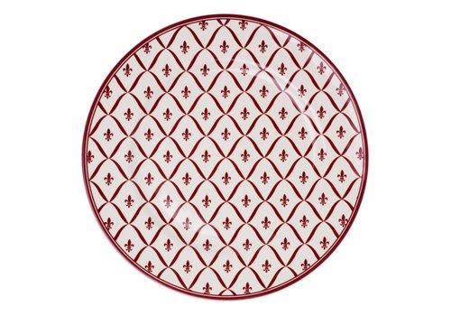 Dépôt d'Argonne Dépôt d'Argonne Dinner Plate Fleur de Lys, Red
