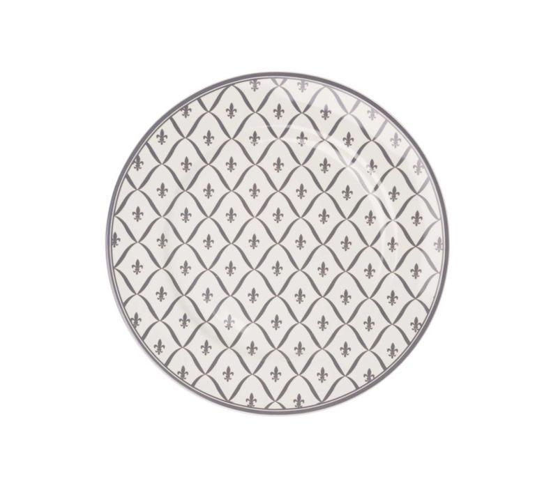 Dépôt d'Argonne Breakfast Plate 23cm Fleur de Lys, Grey