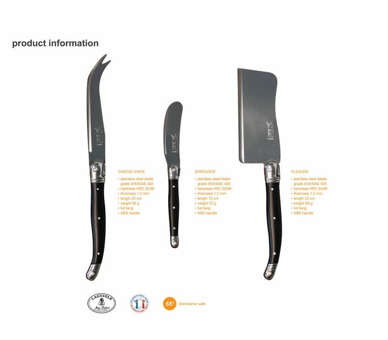 Laguiole 3 Cheese Knives Olive in Black Display