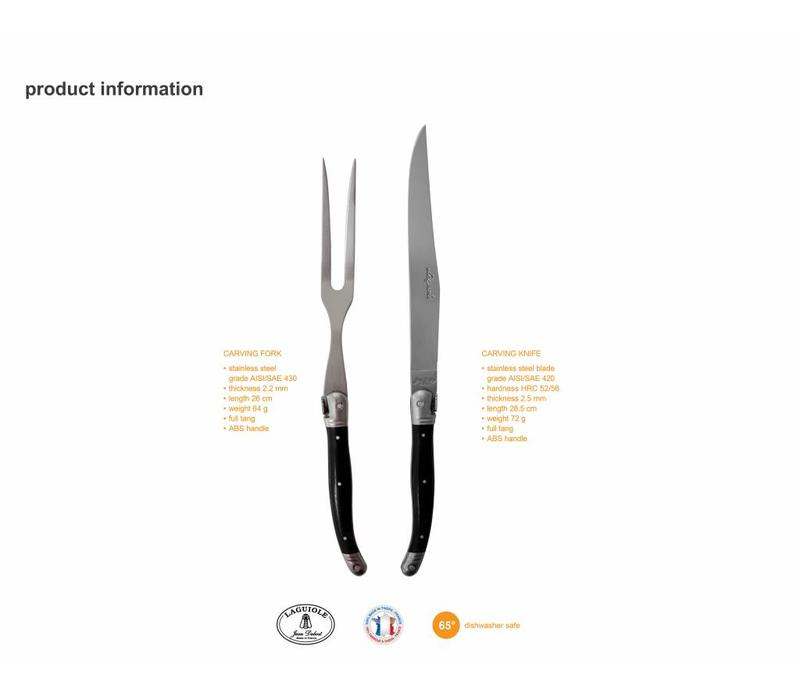 Laguiole Carving Knife & Fork Stainless Steel in Box