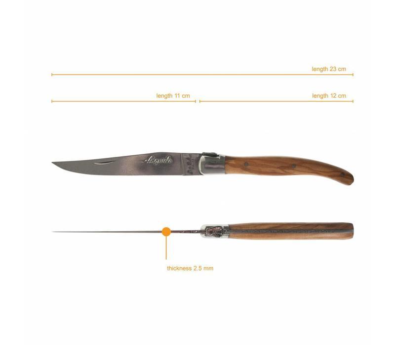 Laguiole 6 Steak Knives 2,5 mm & 6 Forks Olive in Box