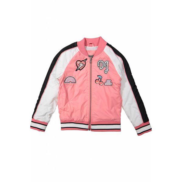 Meisjes bomberjack love pink met patches | DJ DUTCHJEANS