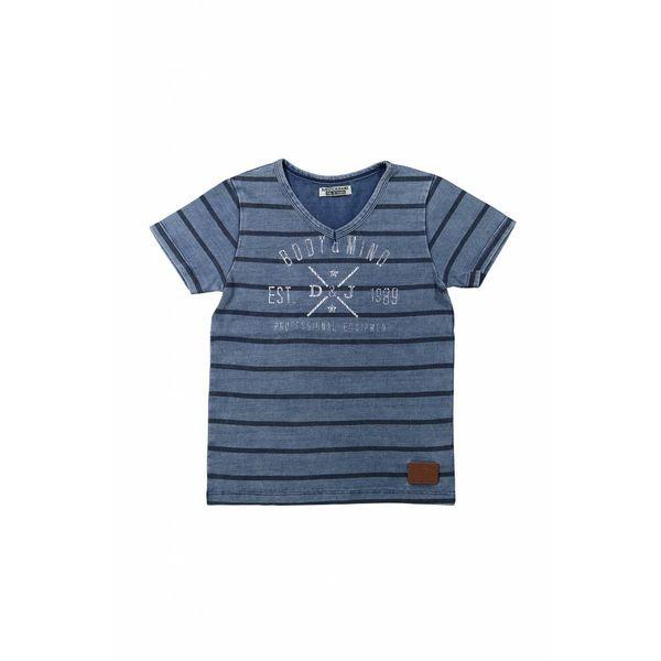 Jongens T-shirt never hold back met v-hals en strepen | DJ DUTCHJEANS