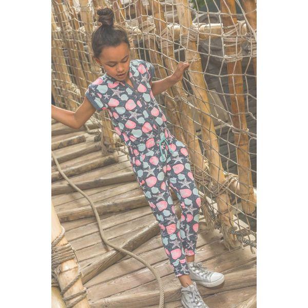 Meisjes jumpsuit don't think too much met schelpen print | DJ DUTCHJEANS