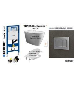 Geberit  UP320 & SIGMA30 Mat Chroom Drukplaat Toiletset
