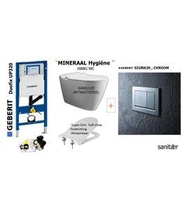 Geberit  UP320 & SIGMA30 Chroom  Drukplaat Toiletset