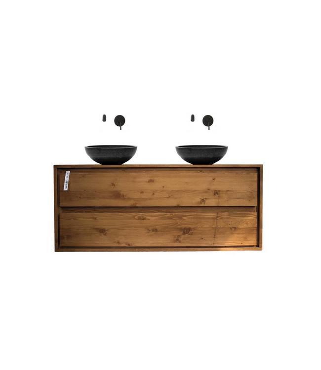 Badkamermeubel hout 120 cm & natuursteen waskommen & 2 laden - Sanitear