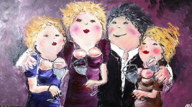 FEELGOOD schilderijen & producten Feelgood schilderij 'Happy together' (paars)