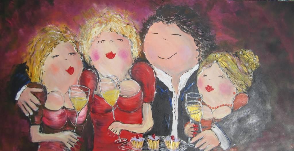 FEELGOOD schilderijen & producten Feelgood schilderij 'Happy together' (rood)