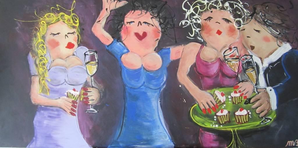FEELGOOD schilderijen & producten Feelgood schilderij 'Bubbels & cake'