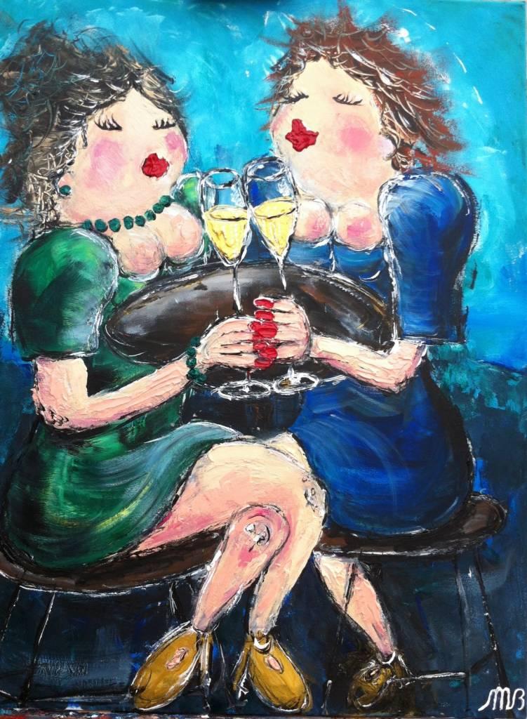 FEELGOOD schilderijen & producten Feelgood schilderij  'Girls talk'