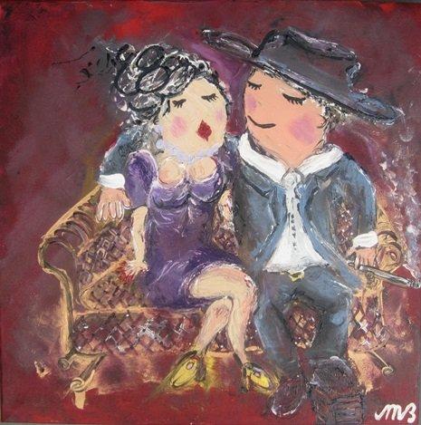 FEELGOOD schilderijen & producten Feelgood schilderij 'At the chesterfield couch'