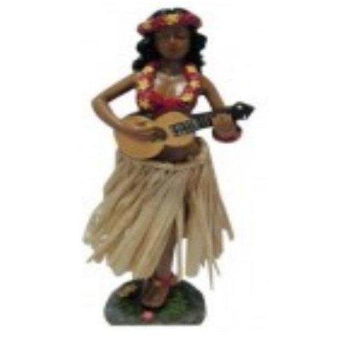 Aloha Surf Huismerk Hula Dashboard Doll Girl: Ukulele Rieten Rok 34