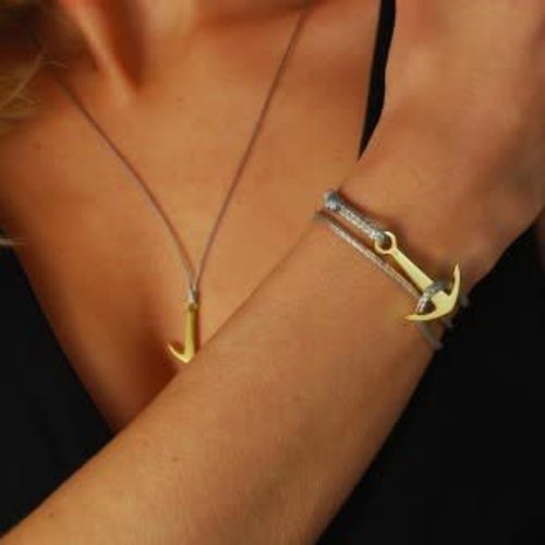 Silver Surf Silver Surf Gouden Anker Armband