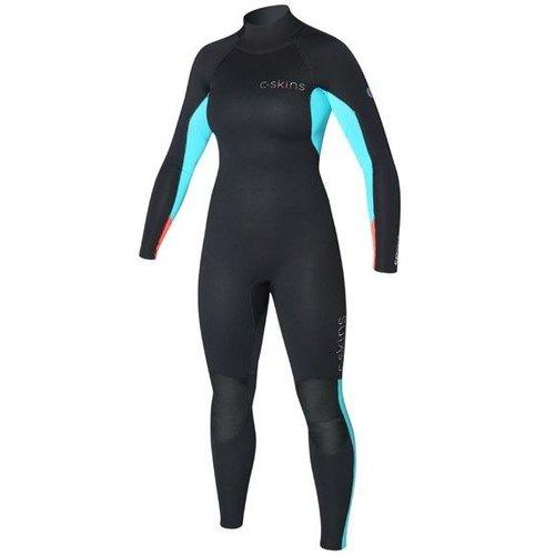 C-Skins C-Skins Surflite 3/2 Zw/Aqua Dames Zomer Wetsuit