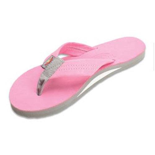 Rainbow Sandals Rainbow Dames Premier Leather Pink W Grey Sandals