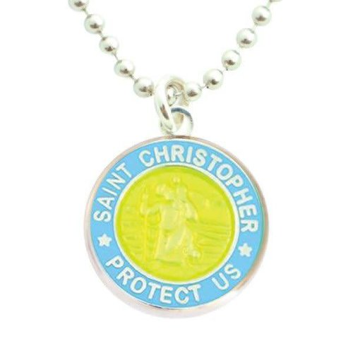 Saint Christopher Saint Christopher Blauw/LimeGroen Ketting