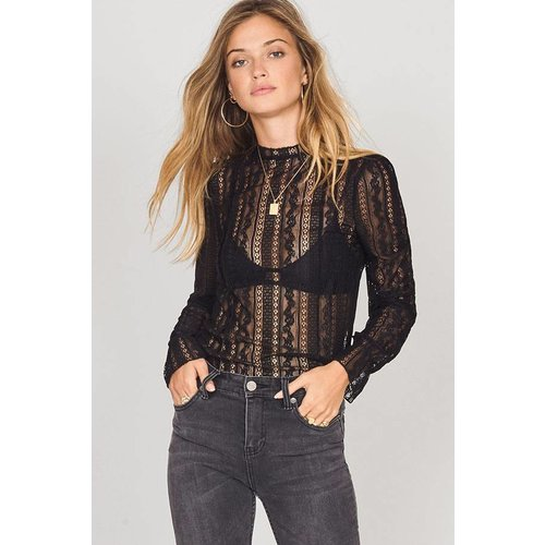 Amuse Amuse All About That Lace Knit Top