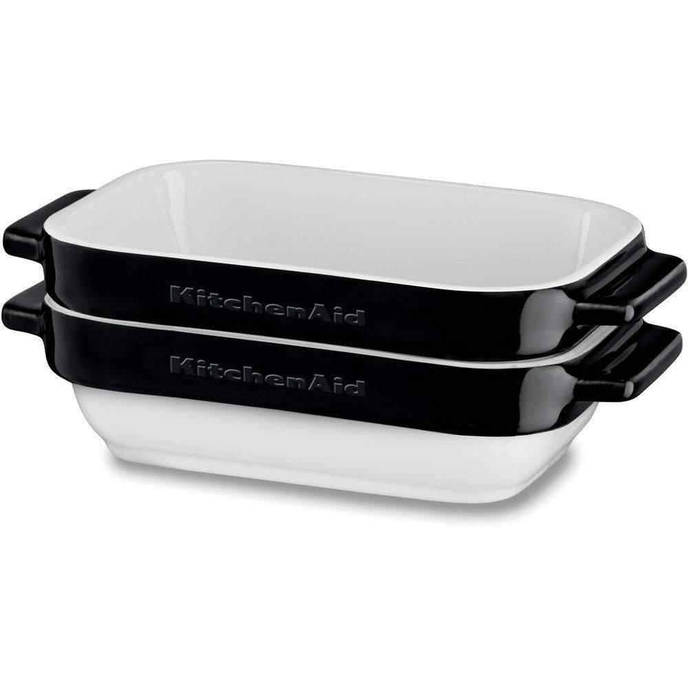 Kitchenaid 2 Delige set keramische bakvormen-ovenschalen onyx zwart KBLR02MBOB