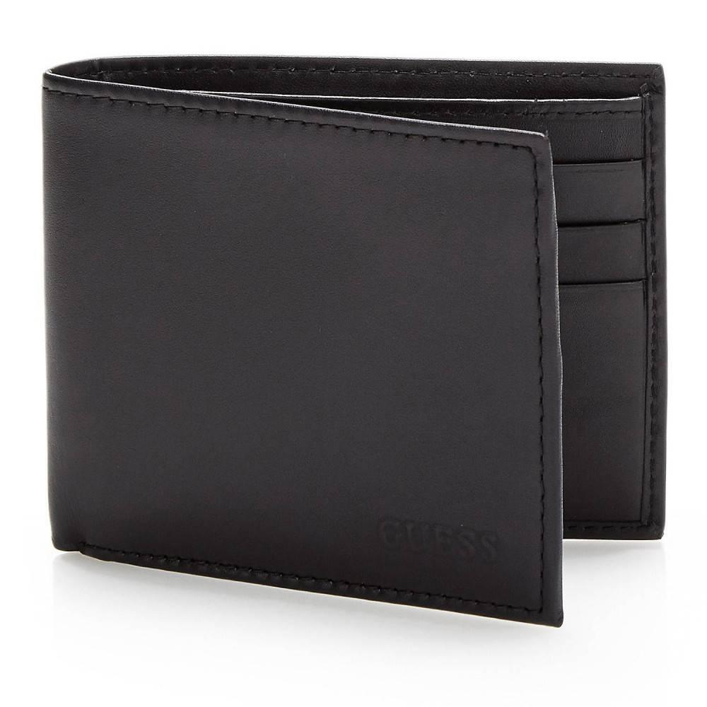 Guess Basic lederen Basic Flat Billfold portemonnee zwart SM7077LEA27