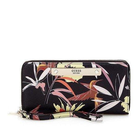 Guess Britta dames portemonnee zwart met bloemenprint SWFF6693460