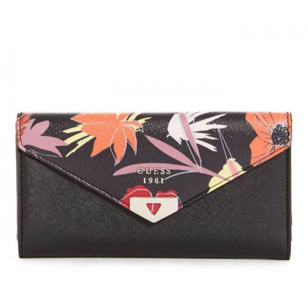 Guess Lottie dames portemonnee zwart-bloemenprint SWBK6792660