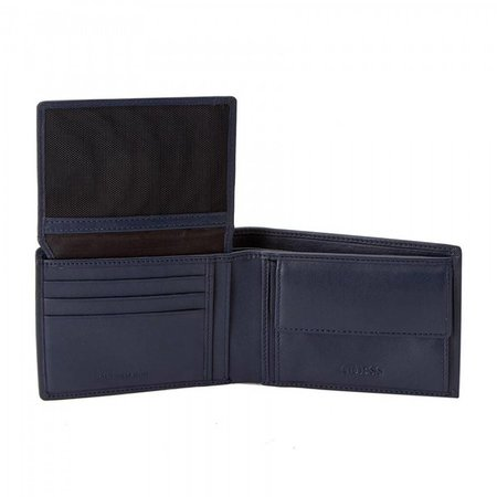 Guess New Boston Bill heren portemonnee blauw SM4015LEA24