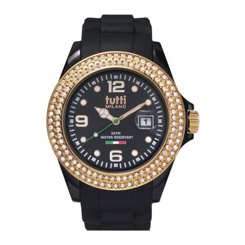 Tutti Milano Cristallo Horloge zwart TM003 NO/RO/Z