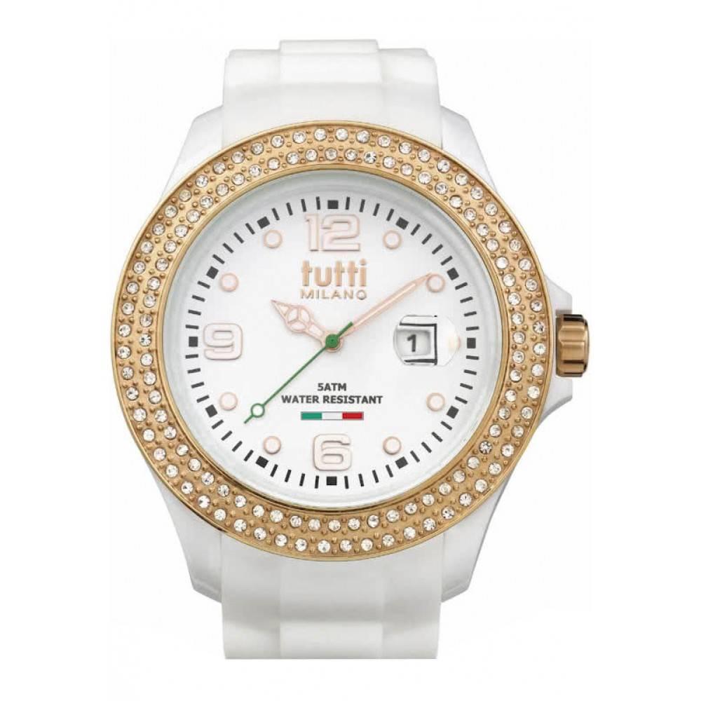 Tutti Milano Cristallo XL Horloge wit TM004 WH/RO/Z