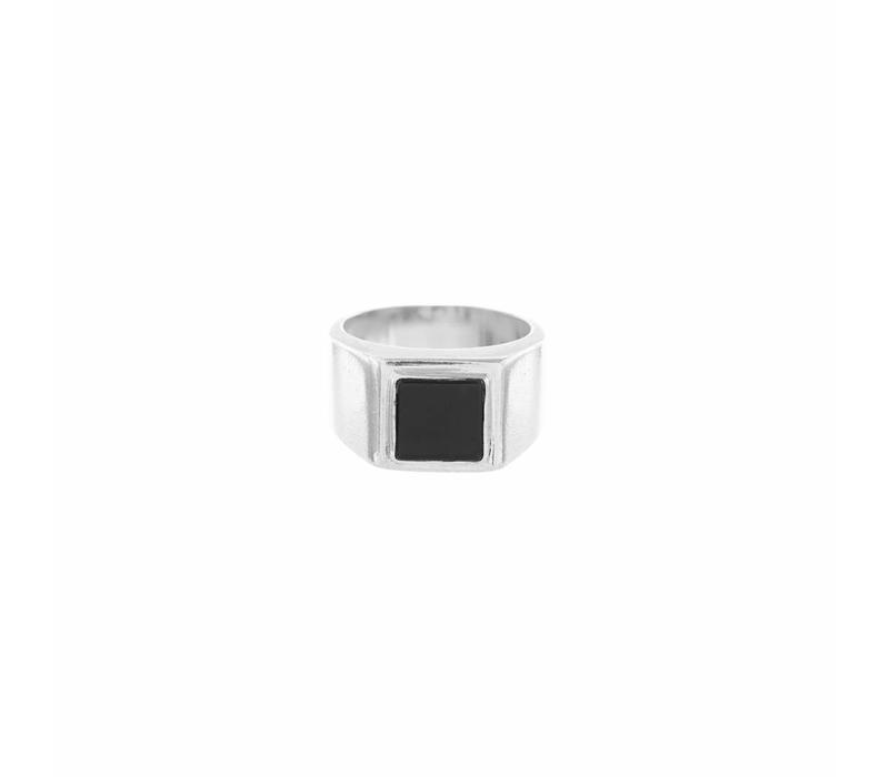 Onyx Signet Ring Zilver