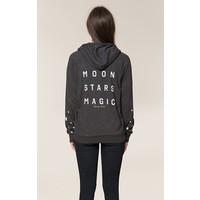 Spiritual Gangster Moon Stars Magic Dharma Zip Hoodie - Vintage Black