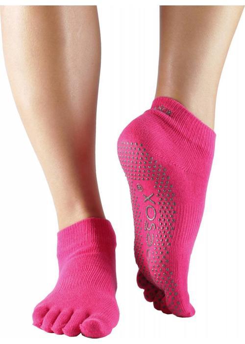 Toesox Toesox Yoga Sokken Enkelhoogte Dichte Tenen - Fuchsia