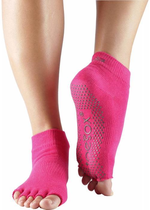 Toesox Toesox Yoga Sokken Enkelhoogte Open Tenen - Fuchsia