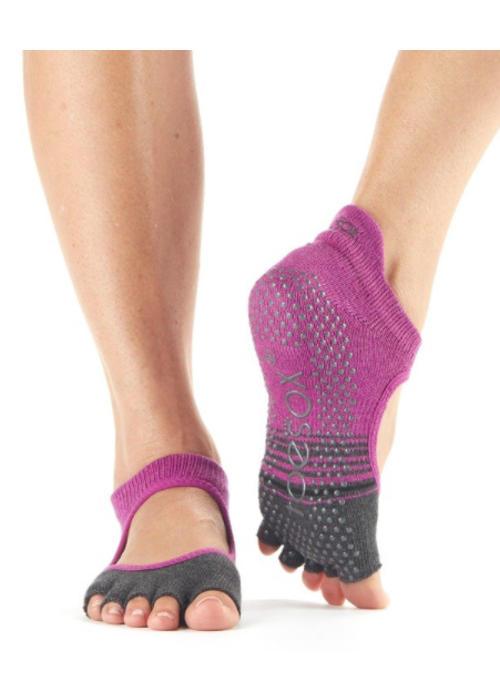 Toesox Toesox Yoga Sokken Bellarina Open Tenen - Mulberry Stripe