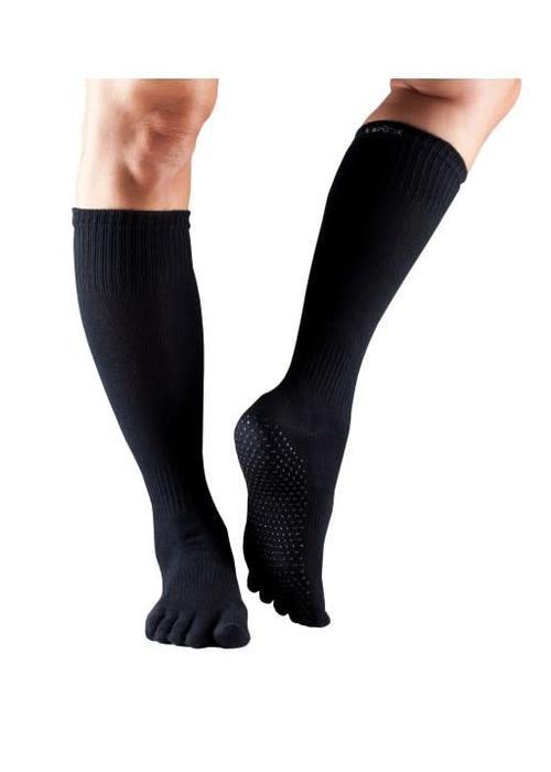 Toesox Toesox Yoga Sokken Kniehoogte Dichte Tenen - Zwart