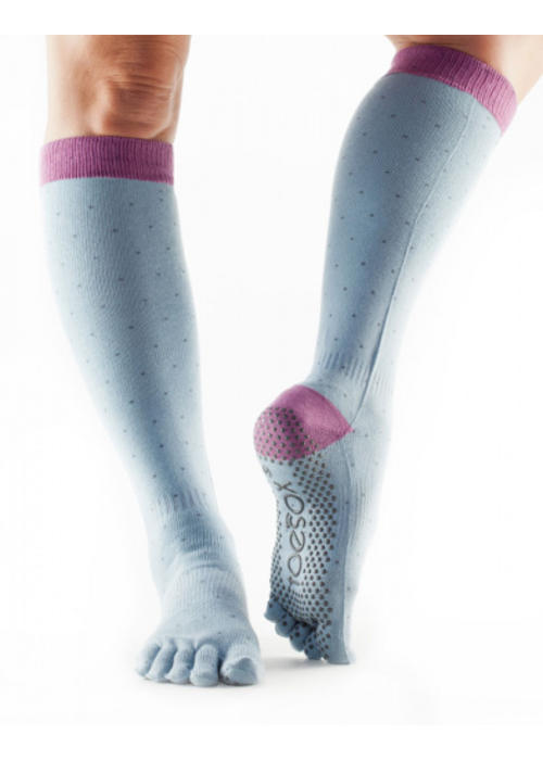 Toesox Toesox Yoga Sokken Kniehoogte Dichte Tenen - Polka